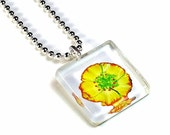 Yellow Flower Pendant, Cute Necklace, Glass Tile Necklace