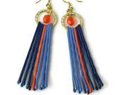 Upcycled Repurposed Orange Blue Earrings, Bobby Pin Jewelry, Broncos, Auburn University, Boise State, Mets Colors