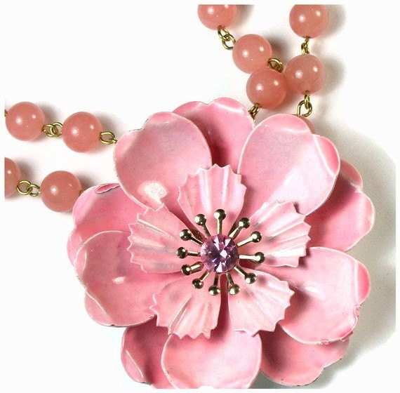 Pink Flower Necklace, Repurposed Jewelry