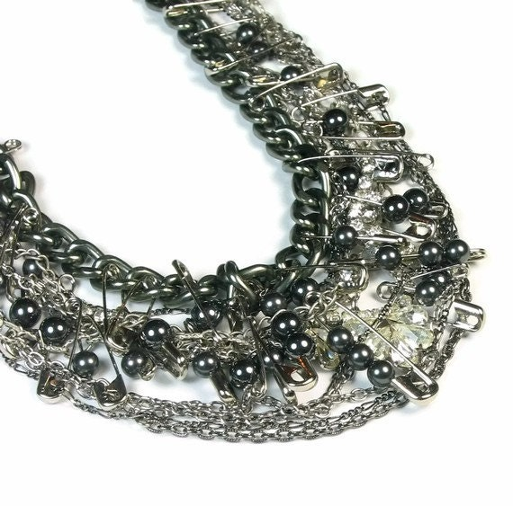 Gunmetal Necklace, Multi Chain Necklace, Rhinestone Pearl