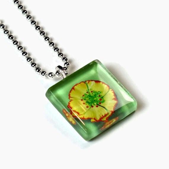 Handmade Glass Tile Pendant - Yellow Flower Green