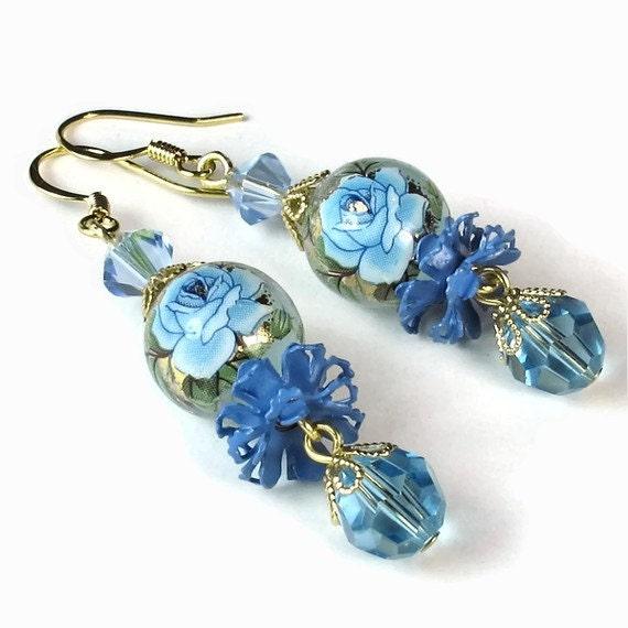 Blue Rose Beaded Dangle Earrings