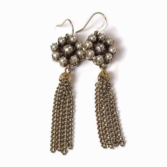Pearl Tassel Earrings, Fringe Earrings