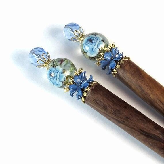 Vintage Blue Rose Hairsticks, Flower Hair Sticks