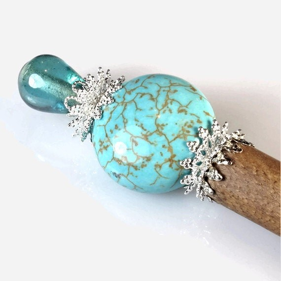 Hair Stick -  Turquoise Gemstone Silver