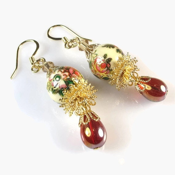 Floral Earrings,  Vintage Inspired Jewelry