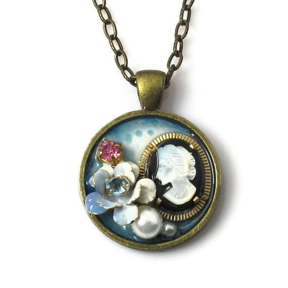 Unique Cameo Pendant, Upcycled Vintage Jewelry