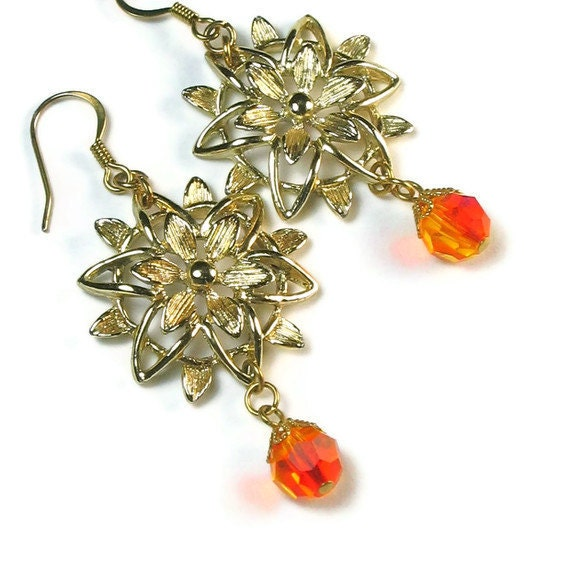 Vintage Flower Earrings, Upcycled Jewelry, Repurposed, Orange Dangles