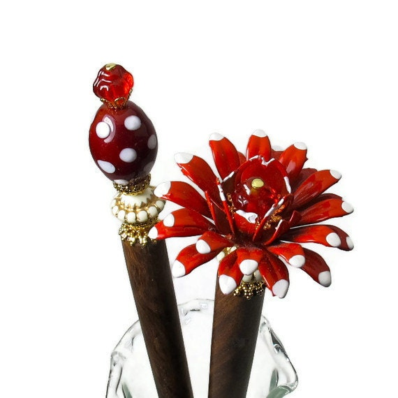 Hairsticks, Red Flower Hair Accessories