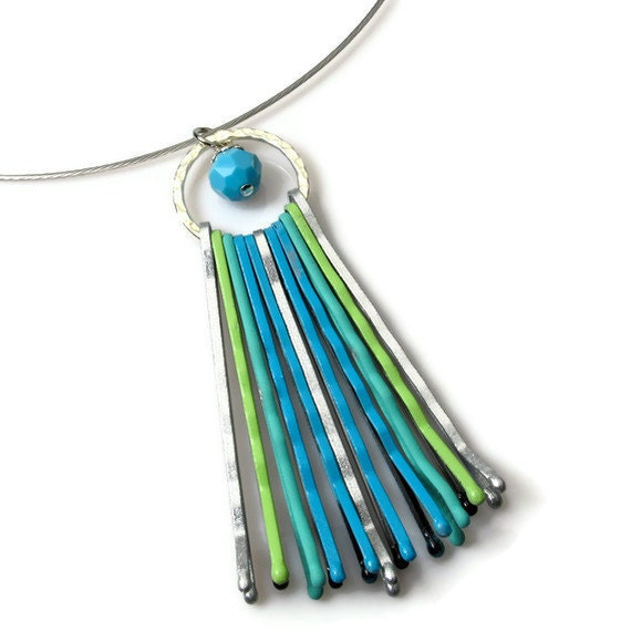 Pendant, Turquoise Necklace, Eclectic Jewelry, Upcycling, Eco Chic