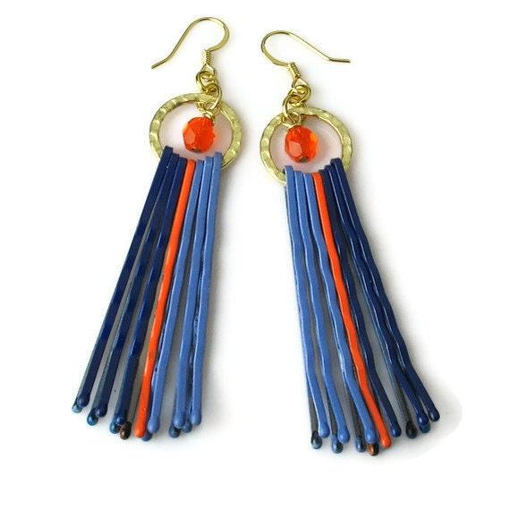 upcycled repurposed orange blue earrings bobby pin jewelry
