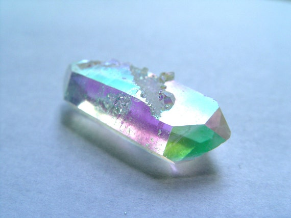 Angel Aura Quartz Crystal Double Terminated Point - Bonded with Silver and Platinum