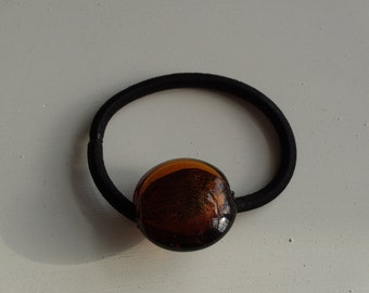 Brown amber with gold shimmer round glass bead, ponytail holder