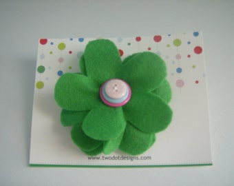Green large flower hair alligator clip with blue, pink, purple, white, polka dot, shell, or any color layered buttons