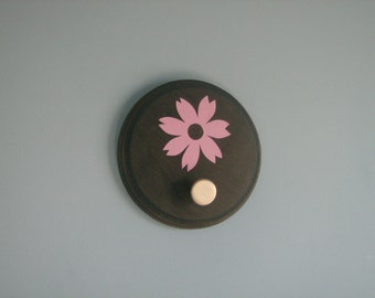 SALE: Black with purple flower wall hook, brushed nickel knob plaque, wall decor