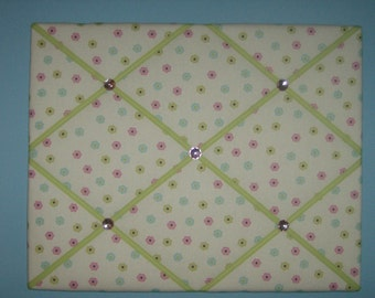 Pink, green, & blue flower french memo board, 16 x 20