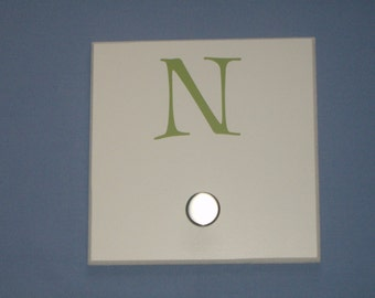 SALE: Letter N monogram initial, green, wall hook with brushed nickel knob