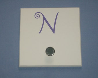 SALE: Letter N monogram initial, purple, wall hook with brushed nickel knob