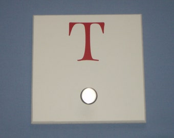 SALE: Letter T monogram initial, red, wall hook with brushed nickel knob