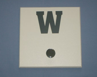 SALE: Letter W monogram initial, slate grey, wall hook with silver knob