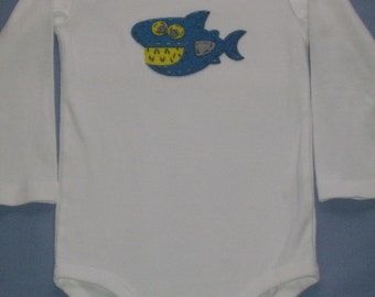Blue shark onesie, 24 months