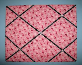 Pink ladybug french memo board, 16 x 20