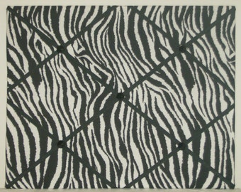 Black & white zebra print french memo board, large 18 x 24
