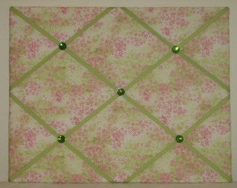 Pink and green floral french memo board, 16 x 20