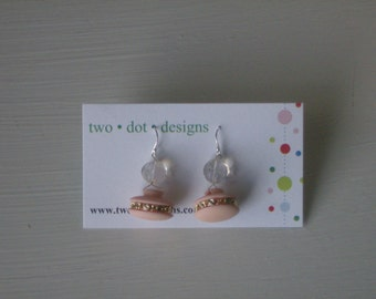 Sterling silver dangle earrings with peach and gold vintage buttons