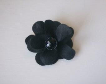 Black large flower hair alligator clip with black rhinestone button
