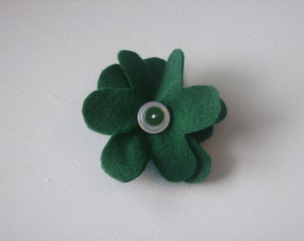 Dark green large flower hair alligator clip with layered buttons