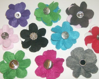 SALE: Lot of SIX layered felt flower pin brooches with vintage buttons