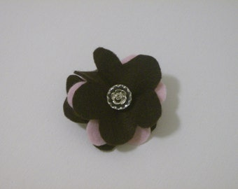 SALE: Brown & pink felt flower pin brooch with vintage faceted clear and silver flower button