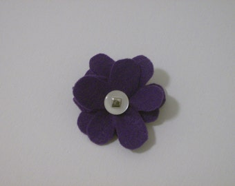 SALE: Purple felt flower pin brooch with vintage white & silver button