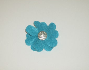SALE: Blue layered felt flower pin brooch with vintage silver accent button