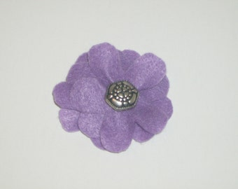 SALE: Purple layered felt flower pin brooch with vintage silver decorative button