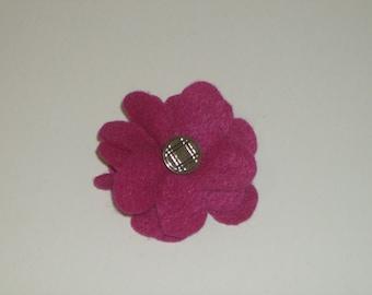 SALE: Dark pink layered felt flower pin brooch with vintage silver decorative button