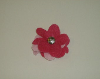 SALE: Bright pink with light pink layered felt flower pin brooch with vintage silver decorative button