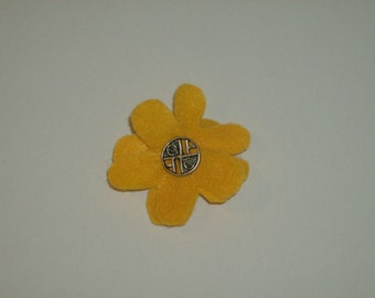 SALE: Yellow layered felt flower pin brooch with vintage silver decorative button