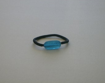 Aqua blue etched Czech glass bead, ponytail holder