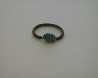 Brown, blue, & black striped oval Calsilica bead, ponytail holder
