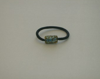 Aqua blue & brown etched tablet Czech glass bead, ponytail holder