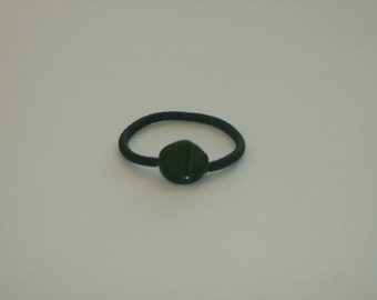 Forest green Czech glass bead, ponytail holder