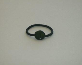 Forest green Czech glass bead, ponytail holder