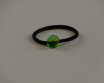 Aqua green etched swirl Czech glass bead, ponytail holder