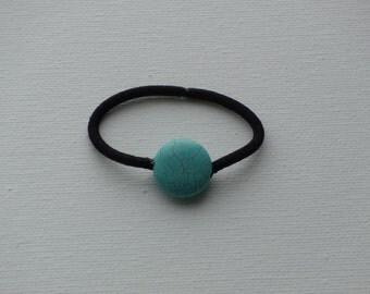 Turquoise round medium stone bead, ponytail holder