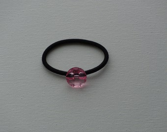 Faceted pink round crystal, ponytail holder