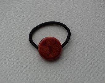 Simulated sponge coral large round bead, ponytail holder