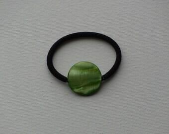 Peridot green round shell bead, ponytail holder