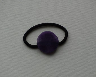 Purple large round stone bead, ponytail holder